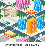 Isometric city seamless pattern with roads, estate and public buildings - stock vector