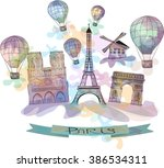 watercolor illustration of... | Shutterstock .eps vector #386534311