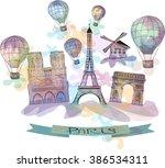 watercolor illustration of... | Shutterstock .eps vector #386534311