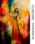 sketch of oriental dancer and... | Shutterstock . vector #386538721