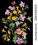 exotic flowers  birds and...   Shutterstock . vector #386548324