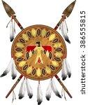 native american indian shield... | Shutterstock .eps vector #386555815