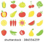vegetables and fruits flat... | Shutterstock .eps vector #386556259