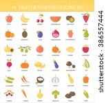 vector vegetables and fruits... | Shutterstock .eps vector #386557444