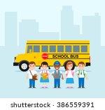 school children kids in uniform ... | Shutterstock .eps vector #386559391