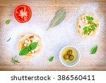 italian food concept pasta with ... | Shutterstock . vector #386560411