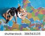the tourist planning a tour... | Shutterstock . vector #386563135