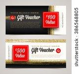 gift voucher template with... | Shutterstock .eps vector #386568805