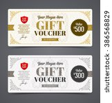 gift voucher template with... | Shutterstock .eps vector #386568829