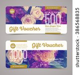 gift voucher template with ... | Shutterstock .eps vector #386568835