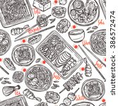 japanese food sketch seamless... | Shutterstock .eps vector #386572474