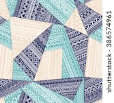 seamless tribal pattern.... | Shutterstock .eps vector #386574961