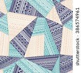 seamless tribal pattern.... | Shutterstock .eps vector #386574961