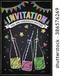 invitation to the party with... | Shutterstock .eps vector #386576269