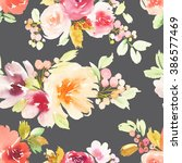 seamless pattern with flowers... | Shutterstock . vector #386577469