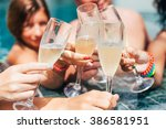 friends clink glasses  in the... | Shutterstock . vector #386581951