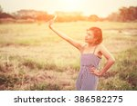 beautiful sexy woman standing... | Shutterstock . vector #386582275