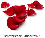 Stock photo petals of red rose isolated on white background 386589424