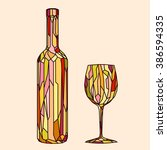 bottle of red wine with glass | Shutterstock .eps vector #386594335