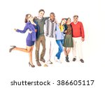 group of cheerful people on... | Shutterstock . vector #386605117