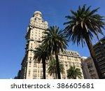 palacio salvo in plaza... | Shutterstock . vector #386605681