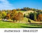 yellow and orange trees on autumn meadow near the road in mountains - stock photo