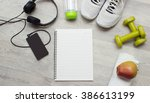 notebook  smartphone with music ... | Shutterstock . vector #386613199