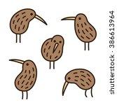set of doodle kiwi birds in...   Shutterstock .eps vector #386613964