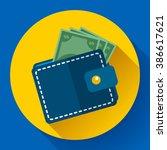 flat vector wallet and money...   Shutterstock .eps vector #386617621