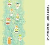 cartoon kids in swimming suits   Shutterstock .eps vector #386618557