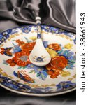 Porcelain Plate And Spoon With...