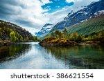 beautiful nature norway natural ... | Shutterstock . vector #386621554