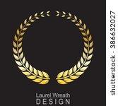 laurel wreath gold on black... | Shutterstock .eps vector #386632027