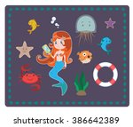 mermaid and sea elements | Shutterstock .eps vector #386642389
