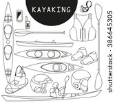 kayak  canoe  paddle  shoes ... | Shutterstock .eps vector #386645305