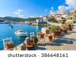 flower pots on and view of... | Shutterstock . vector #386648161
