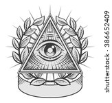 all seeing eye. black and white ... | Shutterstock .eps vector #386652409