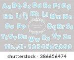 paper cut light blue polka dot... | Shutterstock .eps vector #386656474