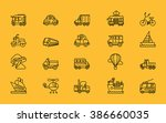 set of transport thin  lines ... | Shutterstock .eps vector #386660035