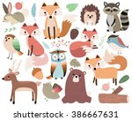 woodland animals isolated... | Shutterstock .eps vector #386667631