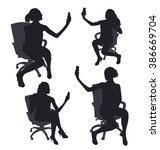 set of woman sitting... | Shutterstock .eps vector #386669704