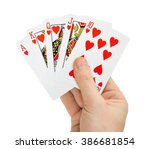 Hand With Poker Cards Isolated...