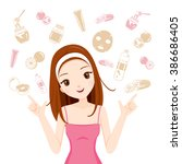 girl with health skin face and... | Shutterstock .eps vector #386686405