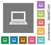 laptop flat icon set on color...