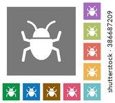 bug flat icon set on color...