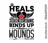 biblical illustration. he heals ... | Shutterstock .eps vector #386689009