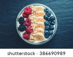 bowl filled with fruits ... | Shutterstock . vector #386690989