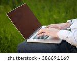 businessman pressing modern... | Shutterstock . vector #386691169