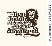 biblical illustration. the lion ... | Shutterstock .eps vector #386691511