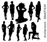 set of woman silhouettes | Shutterstock .eps vector #386697634